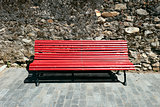 Red bench front.