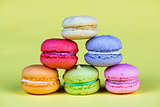 Delicious group of fresh and sweet  macarons