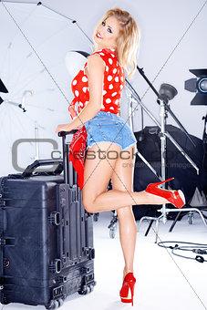 Beautiful elegant model in a studio photo shoot