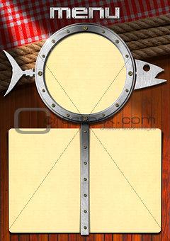 Fish Menu with Metal Porthole
