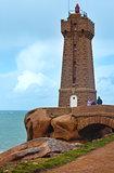 Ploumanach lighthouse and family near.