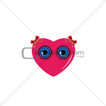A heart with blue eyes and red bow