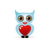 Pretty owl with a red heart