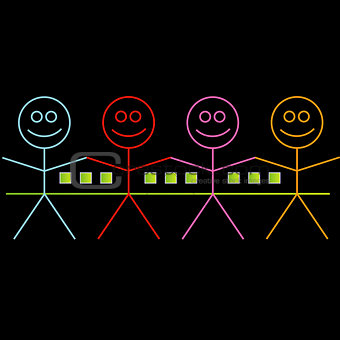 Four happy stick figures with house