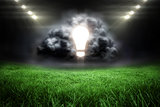 Composite image of light bulb in grey cloud