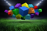 Composite image of 3d colourful cubes floating in a cluster