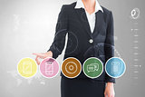 Composite image of businesswoman pointing at menu