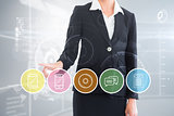 Composite image of businesswoman pointing to menu