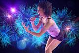 Composite image of pretty girl singing
