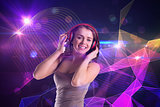 Composite image of pretty girl listening to music