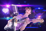 Composite image of pretty girl playing guitar