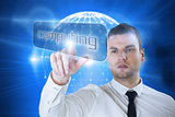 Businessman pointing to word computing