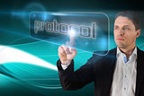 Businessman pointing to word protocol