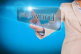 Businesswoman pointing to word password