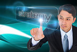 Businessman pointing to word strategy