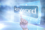 Businessman pointing to word keyword