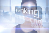 Businesswoman pointing to word ranking