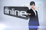 Businesswoman pointing to word online