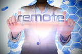 Businesswoman presenting the word remote