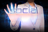 Businesswoman presenting the word social