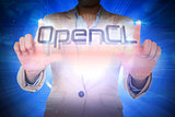 Businesswoman presenting the word opencl