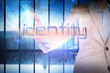 Businesswoman presenting the word identity