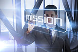 Businessman presenting the word mission