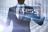 Businessman presenting the word process