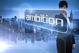 Businesswoman pointing to the word ambition