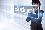 Businessman pointing to the word budget
