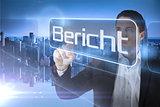 Businessman presenting the word report in german