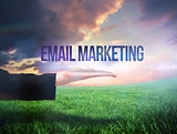 Businesswomans hand presenting the words email marketing