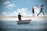 Young businessman pulling a tightrope for business people