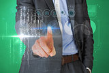 Businessman touching the word skill on interface