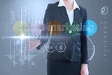 Businesswoman touching the words social marketing on interface