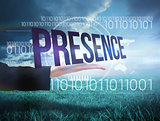Businesswomans hand presenting the word presence
