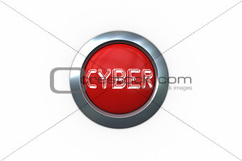 Cyber on digitally generated red push button
