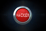 Hacker on digitally generated red push button