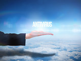 Businesswomans hand presenting the word antivirus