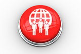 Composite image of business team and sphere graphic on button