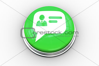 Composite image of speech bubble business card graphic on button