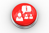 Composite image of manager speaking to staff graphic on button