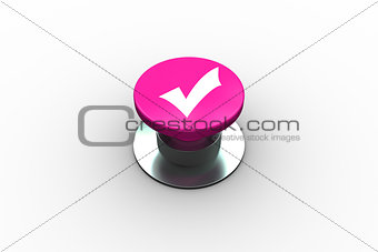 Composite image of tick symbol graphic on button