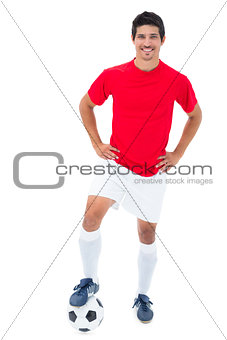 Football player in red standing with ball