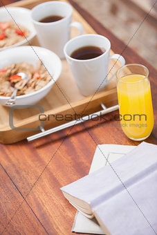 Breakfast on tray on coffee table
