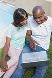 Happy couple sitting in garden using laptop together