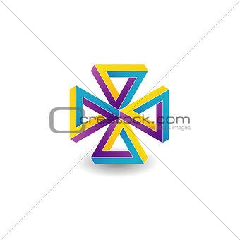 Four penrose triangles optical illusion