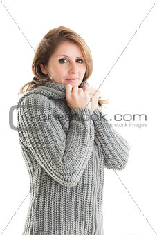 Portrait of woman in warm clothing