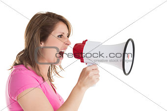 Close up side view of woman shouting into bullhorn