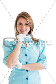 Beautiful stewardess dressed in blue uniform